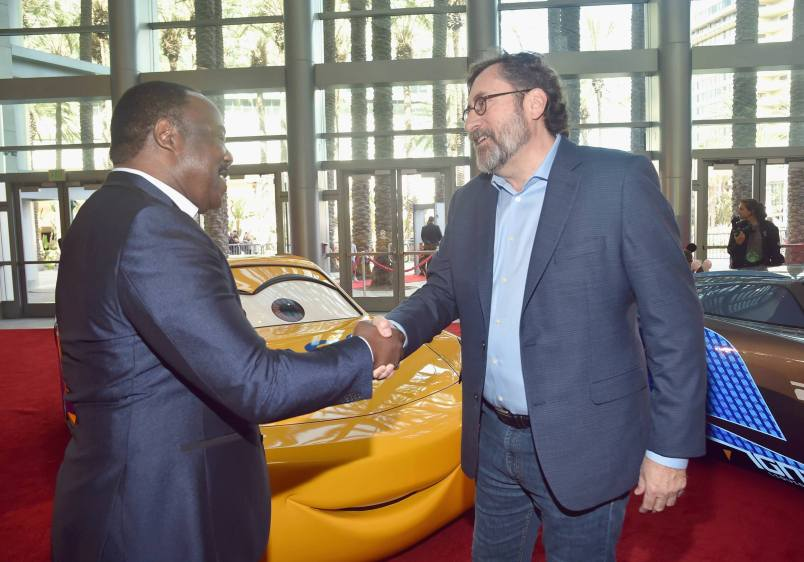 """ANAHEIM, CA - JUNE 10: Actor Isiah Whitlock Jr. and screenwriter Bob Peterson at the World Premiere of Disney/Pixarís ìCars 3"""" at the Anaheim Convention Center on June 10, 2017 in Anaheim, California. (Photo by Alberto E. Rodriguez/Getty Images for Disney) *** Local Caption *** Isiah Whitlock Jr.;Bob Peterson"""