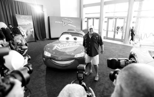 """ANAHEIM, CA - JUNE 10: (EDITORS NOTE: Image has been shot in black and white. Color version not available.) Actor Larry the Cable Guy poses at the World Premiere of Disney/Pixarís ìCars 3"""" at the Anaheim Convention Center on June 10, 2017 in Anaheim, California. (Photo by Charley Gallay/Getty Images for Disney) *** Local Caption *** Larry the Cable Guy;Daniel Lawrence Whitney"""