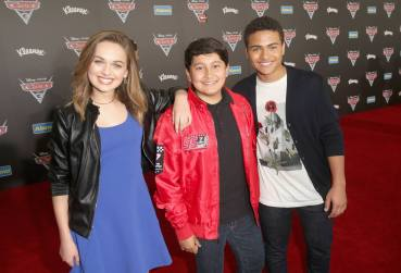 """ANAHEIM, CA - JUNE 10: (L-R) Actors Alyssa Jirrels, ___ and ___ at the World Premiere of Disney/Pixarís ìCars 3"""" at the Anaheim Convention Center on June 10, 2017 in Anaheim, California. (Photo by Jesse Grant/Getty Images for Disney) *** Local Caption *** Alyssa Jirrels"""