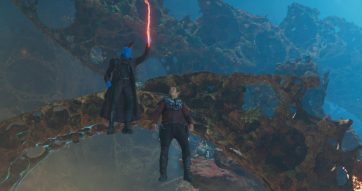 Guardians Of The Galaxy Vol. 2..L to R: Yondu (Michael Rooker) and Star-Lord/Peter Quill (Chris Pratt)..Ph: Film Frame..©Marvel Studios 2017