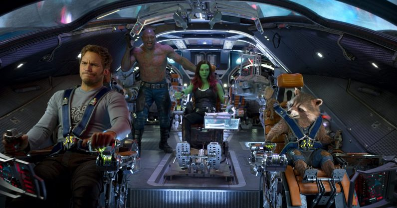 Guardians Of The Galaxy Vol. 2..L to R: Star-Lord/Peter Quill (Chris Pratt), Drax (Dave Bautista), Gamora (Zoe Saldana), Groot (Voiced by Vin Diesel) and Rocket (Voiced by Bradley Cooper)..Ph: Film Frame..©Marvel Studios 2017