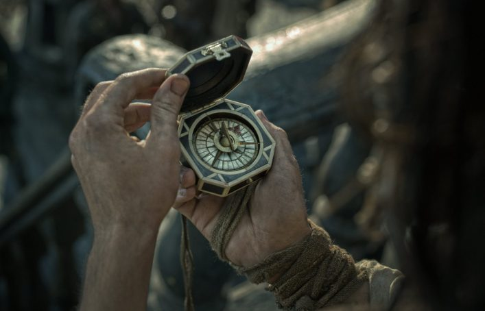"""""""PIRATES OF THE CARIBBEAN: DEAD MEN TELL NO TALES""""..The villainous Captain Salazar (Javier Bardem) pursues Jack Sparrow (Johnny Depp) as he searches for the trident used by Poseidon..Ph: Film Frame..© Disney Enterprises, Inc. All Rights Reserved."""