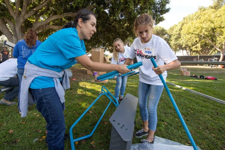 DISNEY VOLUNTEARS HELP BUILD PLAYGROUND IN ANAHEIM - Willow Park in Anaheim was transformed into a kid-designed play space in less than eight hours with the help of close to 300 volunteers from the City of Anaheim, Anaheim Family YMCA, Disney, Disney alumni, area residents and organizers from KaBOOM! on Saturday, September 23, 2017. With this new addition to the neighborhood, 400 kids now have more opportunities to get the balanced and active play they need to thrive. Willow Park marks the ninth Disney-sponsored KaBOOM! playground in the city of Anaheim. (Joshua Sudock/Disney Parks)