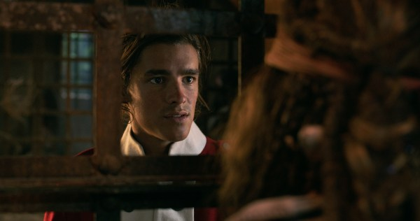"""""""PIRATES OF THE CARIBBEAN: DEAD MEN TELL NO TALES""""..The villainous Captain Salazar (Javier Bardem) pursues Jack Sparrow (Johnny Depp) as he searches for the trident used by Poseidon..Pictured: Henry Turner (Brenton Thwaites)..Ph: Film Frame..© Disney Enterprises, Inc. All Rights Reserved."""