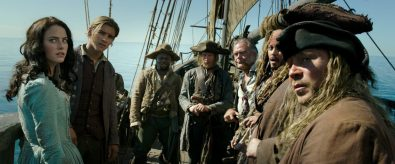 """PIRATES OF THE CARIBBEAN: DEAD MEN TELL NO TALES""..The villainous Captain Salazar (Javier Bardem) pursues Jack Sparrow (Johnny Depp) as he searches for the trident used by Poseidon..Pictured L to R: Carina Smyth (Kaya Scodelario), Henry Turner (Brenton Thwaites), Pike (Delroy Atkinson), Cremble (Adam Brown), Gibbs (Kevin McNally), Captain Jack Sparrow (Johnny Depp) and Scrum (Stephen Graham)..Ph: Film Frame..© Disney Enterprises, Inc. All Rights Reserved."