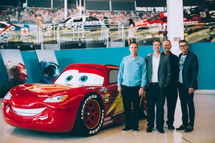 CHARLOTTE, NC - SEPTEMBER 28: (L-R) Creative Director Jay Ward, Director Brian Fee, Producer Kevin Reher and NASCAR 2018 Hall of Fame Inductee Ray Evernham