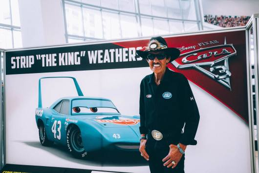 """CHARLOTTE, NC - SEPTEMBER 28: Cars 3 voice of """"The King""""/NASCAR Retired Driver Richard """"The King"""" Petty"""