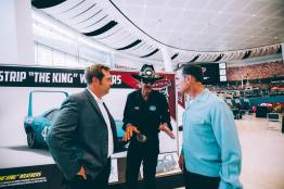 """CHARLOTTE, NC - SEPTEMBER 28: (L-R) Cars 3 Director Brian Fee, voice of """"The King""""/NASCAR Retired Driver Richard """"The King"""" Petty and Cars 3 Creative Director Jay Ward"""
