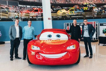 CHARLOTTE, NC - SEPTEMBER 28: (L-R) Director Brian Fee, Creative Director Jay Ward, , Producer Kevin Reher and NASCAR 2018 Hall of Fame Inductee Ray Evernham