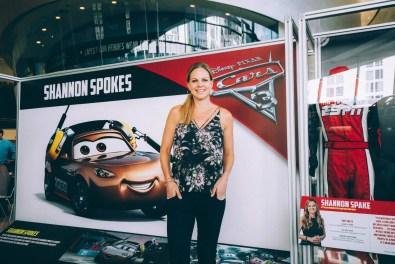 "CHARLOTTE, NC - SEPTEMBER 28: Cars 3 voice of ""Shannon Spokes""/NASCAR Correspondent Shannon Spake"