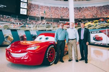 CHARLOTTE, NC - SEPTEMBER 28: (L-R) NASCAR Hall of Fame Director of Exhibits Kevin Schlesier, NASCAR Hall of Fame Historian Buz McKim and NASCAR Hall of Fame Executive Director Winston Kelley