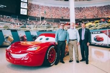 CHARLOTTE, NC - SEPTEMBER 28: (L-R) NASCAR Hall of Fame Director of Exhibits Kevin Schlesier, NASCAR Hall of Fame Historian Buz McKim and NASCAR Hall of Fame Executive Director Winston Kelley