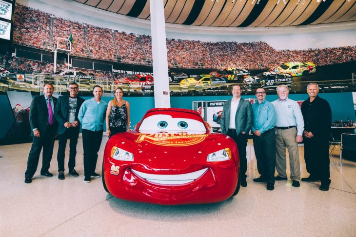 CHARLOTTE, NC - SEPTEMBER 28: (L-R) NASCAR Hall of Fame Executive Director Winston Kelley, NASCAR 2018 Hall of Fame Inductee Ray Evernham, Creative Director Jay Ward, NASCAR Correspondent Shannon Spake, Director Brian Fee, NASCAR Hall of Fame Director of Exhibits Kevin Schlesier, NASCAR Hall of Fame Historian Buz McKim and Producer Kevin Reher