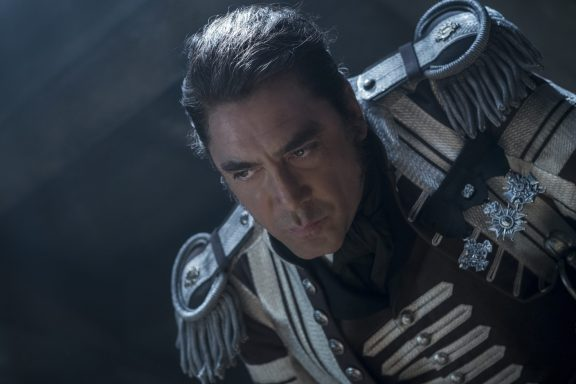 """PIRATES OF THE CARIBBEAN: DEAD MEN TELL NO TALES""..The villainous Captain Salazar (Javier Bardem) pursues Jack Sparrow (Johnny Depp) as he searches for the trident used by Poseidon..Pictured: Captain Salazar (Javier Bardem)..Ph: Peter Mountain..© Disney Enterprises, Inc. All Rights Reserved."