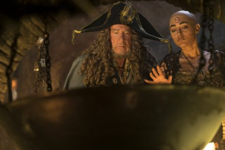 """PIRATES OF THE CARIBBEAN: DEAD MEN TELL NO TALES""..The villainous Captain Salazar (Javier Bardem) pursues Jack Sparrow (Johnny Depp) as he searches for the trident used by Poseidon..Pictured L to R: Captain Hector Barbossa (Geoffrey Rush) and Shansa (Goldshifteh Farahani)..Ph: Peter Mountain..© Disney Enterprises, Inc. All Rights Reserved."