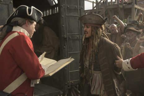 """PIRATES OF THE CARIBBEAN: DEAD MEN TELL NO TALES""..The villainous Captain Salazar (Javier Bardem) pursues Jack Sparrow (Johnny Depp) as he searches for the trident used by Poseidon..Pictured: Captain Jack Sparrow (Johnny Depp)..Ph: Peter Mountain..© Disney Enterprises, Inc. All Rights Reserved."