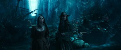 """PIRATES OF THE CARIBBEAN: DEAD MEN TELL NO TALES""..The villainous Captain Salazar (Javier Bardem) pursues Jack Sparrow (Johnny Depp) as he searches for the trident used by Poseidon..Pictured L to R: Carina Smyth (Kaya Scodelario) and Captain Jack Sparrow (Johnny Depp)..Ph: Film Frame..© Disney Enterprises, Inc. All Rights Reserved."