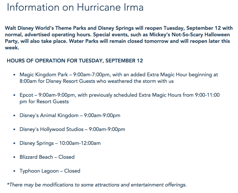 Information on Hurricane Irma - Walt Disney World Resort