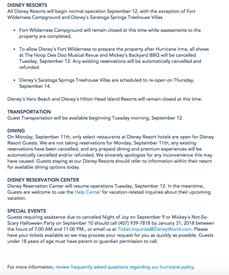 Information on Hurricane Irma - Walt Disney World Resort