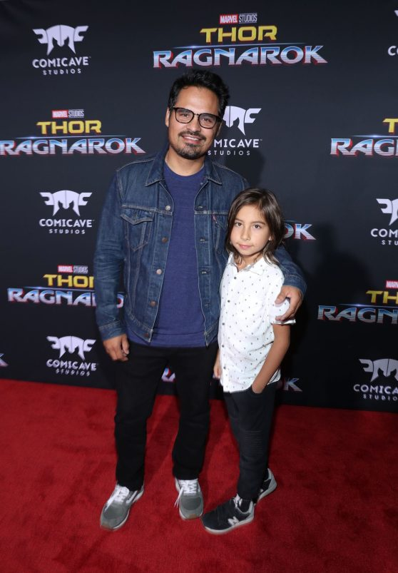 """HOLLYWOOD, CA - OCTOBER 10: Actor Michael Pena (L) and son Roman Pena at The World Premiere of Marvel Studios' """"Thor: Ragnarok"""" at the El Capitan Theatre on October 10, 2017 in Hollywood, California. (Photo by Rich Polk/Getty Images for Disney) *** Local Caption *** Michael Pena; Roman Pena"""