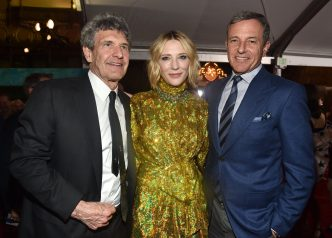 "HOLLYWOOD, CA - OCTOBER 10: (L-R) Chairman, The Walt Disney Studios, Alan Horn, actor Cate Blanchett and The Walt Disney Company Chairman and CEO Bob Iger at The World Premiere of Marvel Studios' ""Thor: Ragnarok"" at the El Capitan Theatre on October 10, 2017 in Hollywood, California. (Photo by Alberto E. Rodriguez/Getty Images for Disney) *** Local Caption *** Alan Horn; Cate Blanchett; Bob Iger"