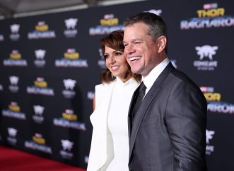 "HOLLYWOOD, CA - OCTOBER 10: Luciana Barroso (L) and actor Matt Damon at The World Premiere of Marvel Studios' ""Thor: Ragnarok"" at the El Capitan Theatre on October 10, 2017 in Hollywood, California. (Photo by Rich Polk/Getty Images for Disney) *** Local Caption *** Luciana Barroso; Matt Damon"