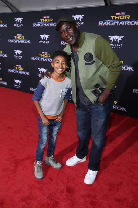 "HOLLYWOOD, CA - OCTOBER 10: Actor Miles Brown (L) and Jack Brown at The World Premiere of Marvel Studios' ""Thor: Ragnarok"" at the El Capitan Theatre on October 10, 2017 in Hollywood, California. (Photo by Rich Polk/Getty Images for Disney) *** Local Caption *** Miles Brown; Jack Brown"