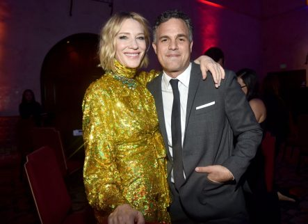 "HOLLYWOOD, CA - OCTOBER 10: Actros Cate Blanchett (L) and Mark Ruffalo at The World Premiere of Marvel Studios' ""Thor: Ragnarok"" at the El Capitan Theatre on October 10, 2017 in Hollywood, California. (Photo by Alberto E. Rodriguez/Getty Images for Disney) *** Local Caption *** Cate Blanchett; Mark Ruffalo"