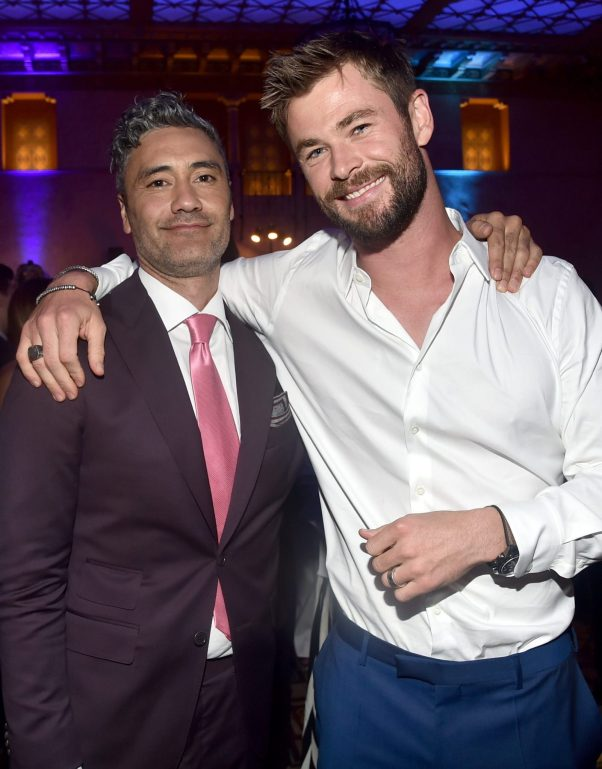 """HOLLYWOOD, CA - OCTOBER 10: Director Taika Waititi (L) and actor Chris Hemsworth at The World Premiere of Marvel Studios' """"Thor: Ragnarok"""" at the El Capitan Theatre on October 10, 2017 in Hollywood, California. (Photo by Alberto E. Rodriguez/Getty Images for Disney) *** Local Caption *** Taika Waititi; Chris Hemsworth"""