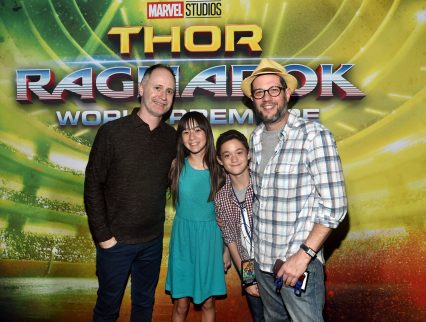 """HOLLYWOOD, CA - OCTOBER 10: Composers Tom MacDougall (far L) and Michael Giacchino (far R) at The World Premiere of Marvel Studios' """"Thor: Ragnarok"""" at the El Capitan Theatre on October 10, 2017 in Hollywood, California. (Photo by Alberto E. Rodriguez/Getty Images for Disney) *** Local Caption *** Tom MacDougall; Michael Giacchino"""