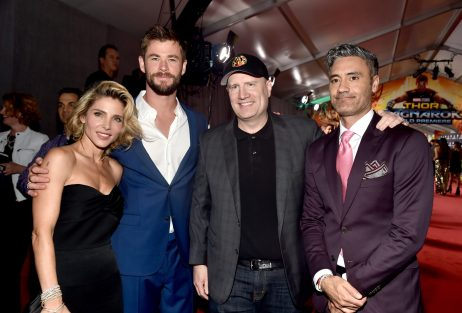 """HOLLYWOOD, CA - OCTOBER 10: (L-R) Elsa Pataky, actor Chris Hemsworth, producer Kevin Feige, and director Taika Waititi at The World Premiere of Marvel Studios' """"Thor: Ragnarok"""" at the El Capitan Theatre on October 10, 2017 in Hollywood, California. (Photo by Alberto E. Rodriguez/Getty Images for Disney) *** Local Caption *** Chris Hemsworth; Elsa Pataky; Kevin Feige; Taika Waititi"""