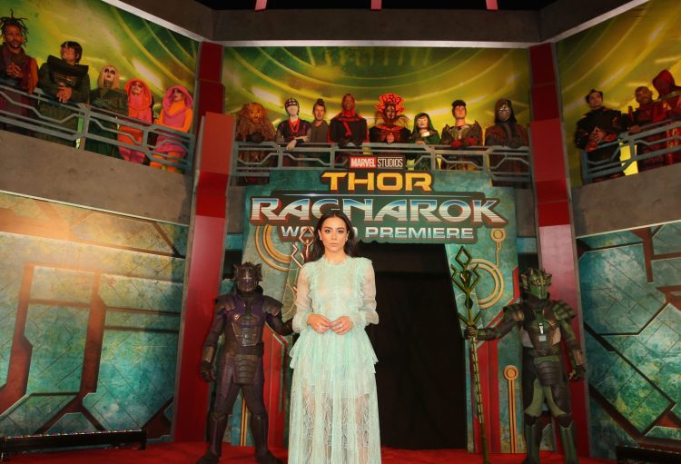 """HOLLYWOOD, CA - OCTOBER 10: Actor Chloe Bennet at The World Premiere of Marvel Studios' """"Thor: Ragnarok"""" at the El Capitan Theatre on October 10, 2017 in Hollywood, California. (Photo by Jesse Grant/Getty Images for Disney) *** Local Caption *** Chloe Bennet"""