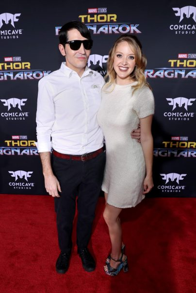 "HOLLYWOOD, CA - OCTOBER 10: Actor David Dastmalchian (L) and Evelyn Leigh at The World Premiere of Marvel Studios' ""Thor: Ragnarok"" at the El Capitan Theatre on October 10, 2017 in Hollywood, California. (Photo by Rich Polk/Getty Images for Disney) *** Local Caption *** Evelyn Leigh; David Dastmalchian"