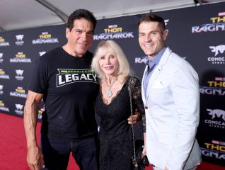 "HOLLYWOOD, CA - OCTOBER 10: (L-R) Actor Lou Ferrigno, Carla Ferrigno, and Louis Ferrigno Jr. at The World Premiere of Marvel Studios' ""Thor: Ragnarok"" at the El Capitan Theatre on October 10, 2017 in Hollywood, California. (Photo by Rich Polk/Getty Images for Disney) *** Local Caption *** Lou Ferrigno; Carla Ferrigno; Louis Ferrigno Jr"