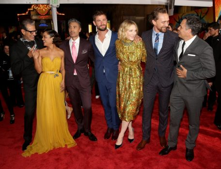"HOLLYWOOD, CA - OCTOBER 10: (L-R) Actors Jeff Goldblum, Tessa Thompson, Director Taika Waititi, actors Chris Hemsworth, Cate Blanchett, Tom Hiddleston and Mark Ruffalo at The World Premiere of Marvel Studios' ""Thor: Ragnarok"" at the El Capitan Theatre on October 10, 2017 in Hollywood, California. (Photo by Jesse Grant/Getty Images for Disney) *** Local Caption *** Jeff Goldblum; Tessa Thompson; Taika Waititi; Chris Hemsworth; Cate Blanchett; Tom Hiddleston; Mark Ruffalo"