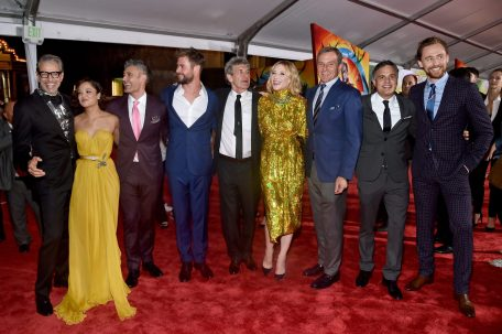 "HOLLYWOOD, CA - OCTOBER 10: (L-R) Actors Jeff Goldblum, Tessa Thompson, Director Taika Waititi, Actor Chris Hemsworth, Chairman, The Walt Disney Studios, Alan Horn, Actor Cate Blanchett, The Walt Disney Company Chairman and CEO, Bob Iger, Actors Mark Ruffalo and Tom Hiddleston at The World Premiere of Marvel Studios' ""Thor: Ragnarok"" at the El Capitan Theatre on October 10, 2017 in Hollywood, California. (Photo by Alberto E. Rodriguez/Getty Images for Disney) *** Local Caption *** Jeff Goldblum; Tessa Thompson; Taika Waititi; Chris Hemsworth; Alan Horn; Cate Blanchett; Bob Iger; Mark Ruffalo; Tom Hiddleston"