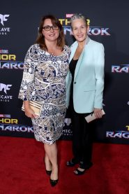 "HOLLYWOOD, CA - OCTOBER 10: Executive producer Victoria Alonso (L) and guest at The World Premiere of Marvel Studios' ""Thor: Ragnarok"" at the El Capitan Theatre on October 10, 2017 in Hollywood, California. (Photo by Rich Polk/Getty Images for Disney) *** Local Caption *** Victoria Alonso"