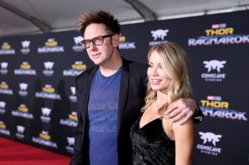 "HOLLYWOOD, CA - OCTOBER 10: Screenwriter James Gunn (L) and Jennifer Holland at The World Premiere of Marvel Studios' ""Thor: Ragnarok"" at the El Capitan Theatre on October 10, 2017 in Hollywood, California. (Photo by Rich Polk/Getty Images for Disney) *** Local Caption *** James Gunn; Jennifer Holland"