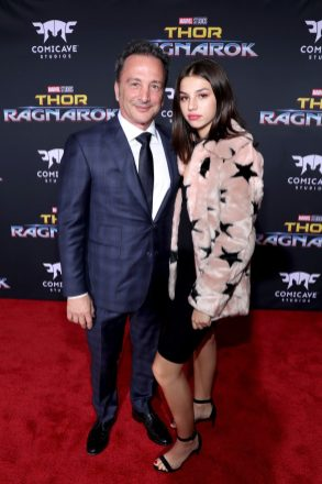 "HOLLYWOOD, CA - OCTOBER 10: Executive producer Louis D'Esposito (L) and daughter at The World Premiere of Marvel Studios' ""Thor: Ragnarok"" at the El Capitan Theatre on October 10, 2017 in Hollywood, California. (Photo by Rich Polk/Getty Images for Disney) *** Local Caption *** Louis D'Esposito"