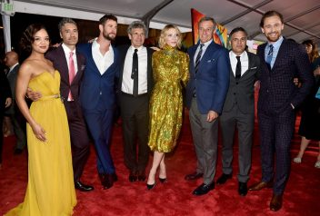 "HOLLYWOOD, CA - OCTOBER 10: (L-R) Actor Tessa Thompson, Director Taika Waititi, Actor Chris Hemsworth, Chairman, The Walt Disney Studios, Alan Horn, Actor Cate Blanchett, The Walt Disney Company Chairman and CEO, Bob Iger, Actors Mark Ruffalo and Tom Hiddleston at The World Premiere of Marvel Studios' ""Thor: Ragnarok"" at the El Capitan Theatre on October 10, 2017 in Hollywood, California. (Photo by Alberto E. Rodriguez/Getty Images for Disney) *** Local Caption *** Tessa Thompson; Taika Waititi; Chris Hemsworth; Alan Horn; Cate Blanchett; Bob Iger; Mark Ruffalo; Tom Hiddleston"