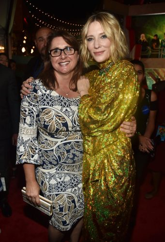 """HOLLYWOOD, CA - OCTOBER 10: Executive producer Victoria Alonso (L) and Actor Cate Blanchett at The World Premiere of Marvel Studios' """"Thor: Ragnarok"""" at the El Capitan Theatre on October 10, 2017 in Hollywood, California. (Photo by Alberto E. Rodriguez/Getty Images for Disney) *** Local Caption *** Victoria Alonso; Cate Blanchett"""