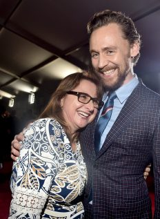 """HOLLYWOOD, CA - OCTOBER 10: Executive producer Victoria Alonso (L) and Actor Tom Hiddleston at The World Premiere of Marvel Studios' """"Thor: Ragnarok"""" at the El Capitan Theatre on October 10, 2017 in Hollywood, California. (Photo by Alberto E. Rodriguez/Getty Images for Disney) *** Local Caption *** Victoria Alonso; Tom Hiddleston"""