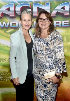 "HOLLYWOOD, CA - OCTOBER 10: Executive producer Victoria Alonso (R) and guest at The World Premiere of Marvel Studios' ""Thor: Ragnarok"" at the El Capitan Theatre on October 10, 2017 in Hollywood, California. (Photo by Alberto E. Rodriguez/Getty Images for Disney) *** Local Caption *** Victoria Alonso"