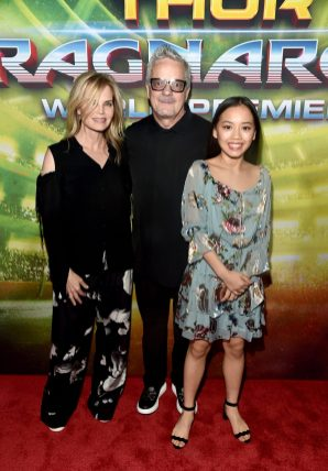 "HOLLYWOOD, CA - OCTOBER 10: Composer Mark Mothersbaugh (C) and guests at The World Premiere of Marvel Studios' ""Thor: Ragnarok"" at the El Capitan Theatre on October 10, 2017 in Hollywood, California. (Photo by Alberto E. Rodriguez/Getty Images for Disney) *** Local Caption *** Mark Mothersbaugh"