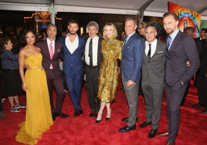 "HOLLYWOOD, CA - OCTOBER 10: (L-R) Actor Tessa Thompson, Director Taika Waititi, Actor Chris Hemsworth, Chairman, The Walt Disney Studios, Alan Horn, Actor Cate Blanchett, The Walt Disney Company Chairman and CEO, Bob Iger, Actors Mark Ruffalo and Tom Hiddleston at The World Premiere of Marvel Studios' ""Thor: Ragnarok"" at the El Capitan Theatre on October 10, 2017 in Hollywood, California. (Photo by Jesse Grant/Getty Images for Disney) *** Local Caption *** Tessa Thompson; Taika Waititi; Chris Hemsworth; Alan Horn; Cate Blanchett; Bob Iger; Mark Ruffalo; Tom Hiddleston"
