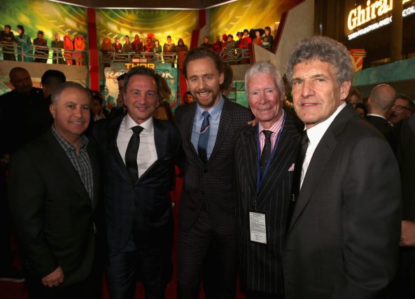 "HOLLYWOOD, CA - OCTOBER 10: (L-R) Walt Disney Studios President, Alan Bergman, Executive producer Louis D'Esposito, Actor Tom Hiddleston, guest and Chairman, The Walt Disney Studios, Alan Horn at The World Premiere of Marvel Studios' ""Thor: Ragnarok"" at the El Capitan Theatre on October 10, 2017 in Hollywood, California. (Photo by Jesse Grant/Getty Images for Disney) *** Local Caption *** Alan Bergman; Louis D'Esposito; Tom Hiddleston; Alan Horn"