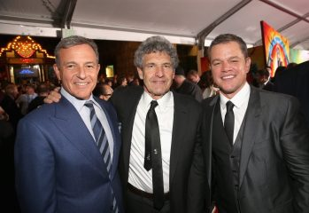 "HOLLYWOOD, CA - OCTOBER 10: (L-R) The Walt Disney Company Chairman and CEO, Bob Iger, Chairman, The Walt Disney Studios, Alan Horn and actor Matt Damon at The World Premiere of Marvel Studios' ""Thor: Ragnarok"" at the El Capitan Theatre on October 10, 2017 in Hollywood, California. (Photo by Jesse Grant/Getty Images for Disney) *** Local Caption *** Bob Iger; Alan Horn; Matt Damon"
