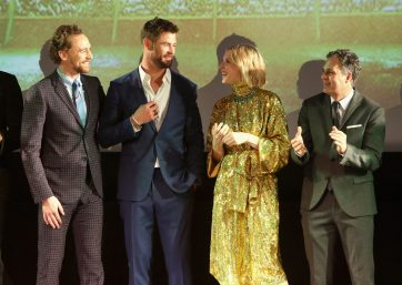 """HOLLYWOOD, CA - OCTOBER 10: (L-R) Actors Tom Hiddleston, Chris Hemsworth, Cate Blanchett and Mark Ruffalo at The World Premiere of Marvel Studios' """"Thor: Ragnarok"""" at the El Capitan Theatre on October 10, 2017 in Hollywood, California. (Photo by Jesse Grant/Getty Images for Disney) *** Local Caption *** Tom Hiddleston; Chris Hemsworth; Cate Blanchett; Mark Ruffalo"""