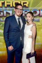 """HOLLYWOOD, CA - OCTOBER 10: Writer Eric Pearson (L) and Kate Pearson at The World Premiere of Marvel Studios' """"Thor: Ragnarok"""" at the El Capitan Theatre on October 10, 2017 in Hollywood, California. (Photo by Alberto E. Rodriguez/Getty Images for Disney) *** Local Caption *** Eric Pearson; Kate Pearson"""