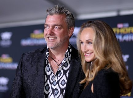 """HOLLYWOOD, CA - OCTOBER 10: Actor Ray Stevenson (L) and Elisabetta Caraccia at The World Premiere of Marvel Studios' """"Thor: Ragnarok"""" at the El Capitan Theatre on October 10, 2017 in Hollywood, California. (Photo by Rich Polk/Getty Images for Disney) *** Local Caption *** Ray Stevenson; Elisabetta Caraccia"""